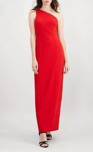 Calvin Klein One Shoulder Red Gown Size 10